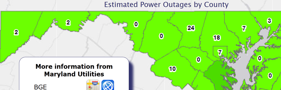 Power outage graph tracks outages caused by the Maryland Derecho
