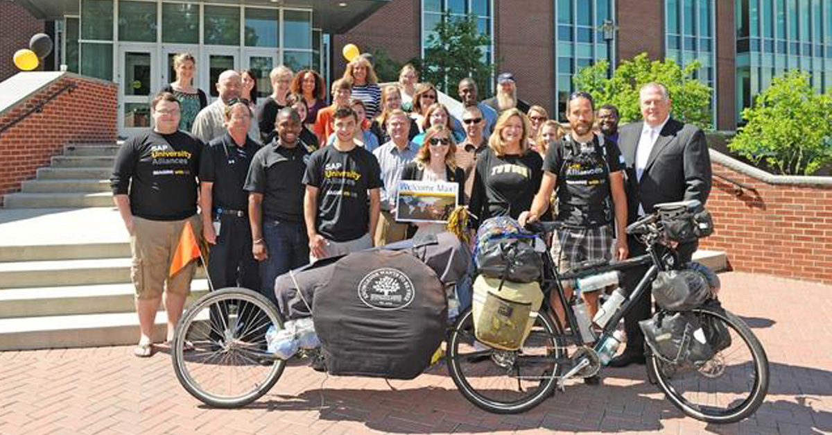 Biker to Pedal 35,000 Miles Around the World Makes 4th Stop at Towson University