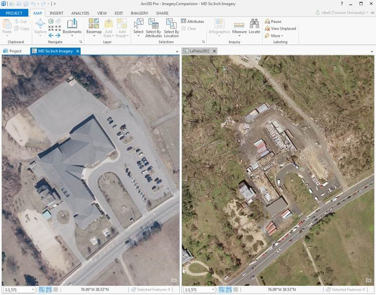imagery comparison in ArcGIS Pro