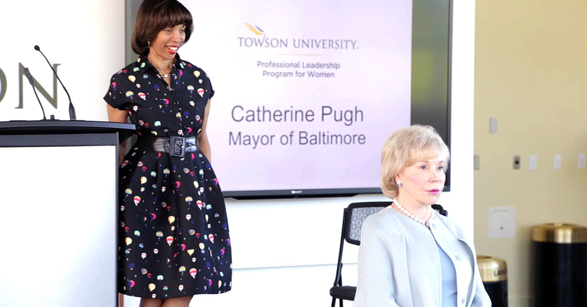 dr nancy grasmick introduces baltimore city mayor catherine pugh at towson university professional leadership program for women event