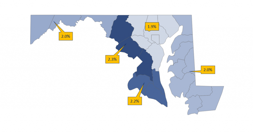 forecasted employment growth in Maryland for Health Care and Social Assistance jobs, 2018-2020