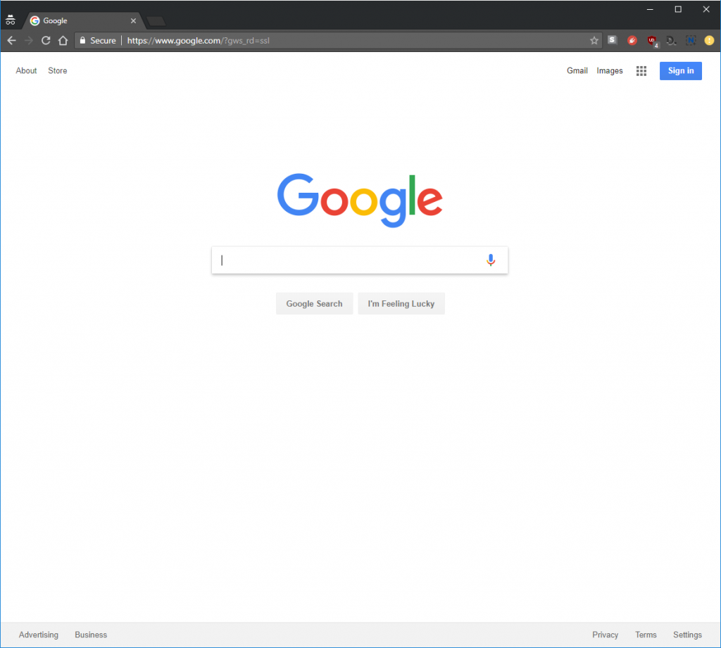 screen capture of google homepage