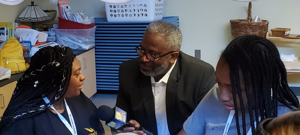 Tim Tooten from WBAL came and broadcasted about the institute for his Education Alert
